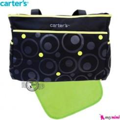 ساک لوازم نوزاد مشکی سبز حباب کارترز Carter's