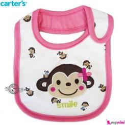 پیشبند 3 لایه نوزاد و کودک صورتی میمون کارترز Carters Bib