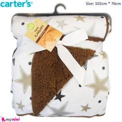 پتو نوزاد و کودک ستاره پرز قهوه ای کارترز Carter's Baby Blanket