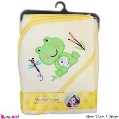 حوله کلاه دار نوزاد و کودک لیمویی قورباغه Hooded Towel