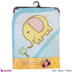 حوله کلاهدار آبی فیروزه ای نوزاد و کودک فیل Hooded Towel