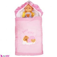 قنداق فرنگی تترون صورتی خرس خوابیده Baby Sleeping Bag