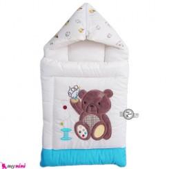 قنداق فرنگی نوزاد تترون فیروزه ای خرس نشسته Baby Sleeping Bag