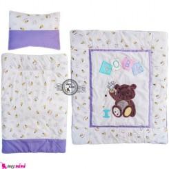 لحاف تشک بالش تترون نوزاد و کودک یاسی خرس نشسته Sleeping Set