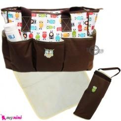ساک لوازم نوزاد برزنتی قهوه ای جغد Baby diaper bag