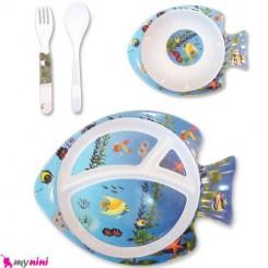 سرویس ملامین 4 تکه سیسمونی کودک ماهی Feeding Set