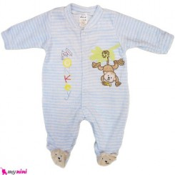 سرهمی مخمل میمون آبی نوزاد و کودک بالِدی Baledi Baby sleepsuit