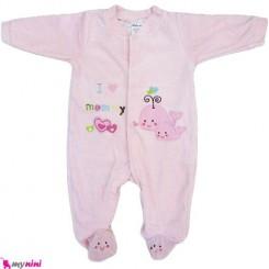 سرهمی مخمل نهنگ صورتی نوزاد و کودک بالِدی Baledi Baby sleepsuit