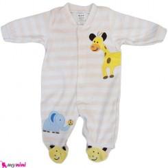 سرهمی مخمل زرافه و فیل نوزاد و کودک بالِدی Baledi Baby sleepsuit