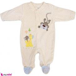 سرهمی مخمل میمون خالدار نوزاد و کودک بالِدی Baledi Baby sleepsuit