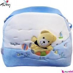 ساک لوازم نوزاد پولیشی خرس آبی بِی بی لاین ترکیه Baby line diaper bag