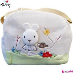 ساک لوازم نوزاد پولیشی خرگوش کِرم بِی بی لاین ترکیه Baby line diaper bag