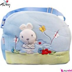 ساک لوازم نوزاد پولیشی خرگوش آبی بِی بی لاین ترکیه Baby line diaper bag