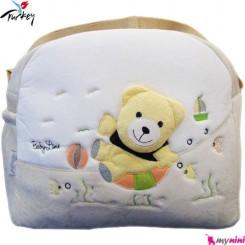 ساک لوازم نوزاد پولیشی خرس کِرم بِی بی لاین ترکیه Baby line diaper bag