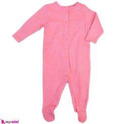 سرهمی نخی نوزاد و کودک صورتی Baby cotton sleepsuit