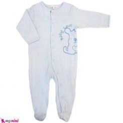 سرهمی نخی نوزاد و کودک آبی خرگوش Baby cotton sleepsuit