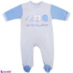 سرهمی نخی نوزاد و کودک آبی گوسفند Baby cotton sleepsuit