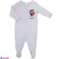 سرهمی نخی نوزاد و کودک 3 تا 6 ماه طوسی Baby cotton sleepsuit