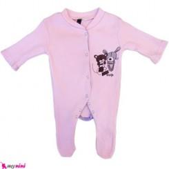 سرهمی نخی نوزاد و کودک 0 تا 9 ماه صورتی خرس Baby cotton sleepsuit