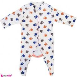 سرهمی نخی نوزاد و کودک 0 تا 9 ماه ردپا Baby cotton sleepsuit
