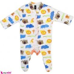سرهمی نخی نوزاد و کودک 0 تا 9 ماه حیوانات Baby cotton sleepsuit