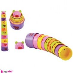 برج هوش استوانه ای کودک گلدونه Educational toys