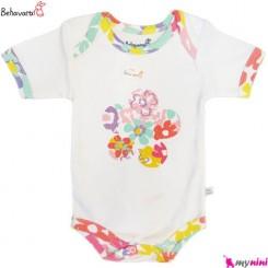 آستین کوتاه زیردکمه دار نوزاد و کودک طرح پرگون به آوران Behavaran Baby Clothes