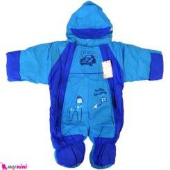 سرهمی کاپشنی کلاه دار نوزاد و کودک آبی Baby warm sleepsuit