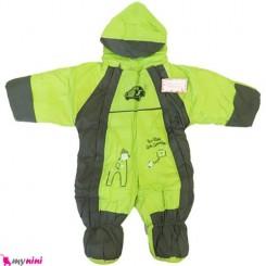سرهمی کاپشنی کلاه دار نوزاد و کودک سبز Baby warm sleepsuit