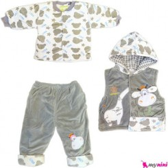 3 تکه مخمل آستردار نوزاد و کودک طوسی زرافه Baby warm clothes