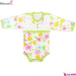 آستین بلند زیردکمه دار نوزاد و کودک طرح رنگارنگ به آوران Behavaran Baby Clothes