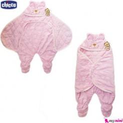 قنداق فرنگی پادار مخمل نوزاد صورتی خرگوش چیکو Baby sleeping bag