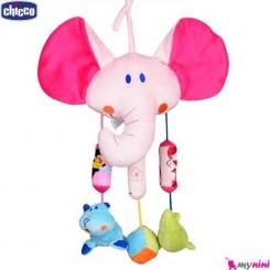 آویز کریر و آویز تخت جغجغه ای نوزاد فیل چیکو Chicco plush toys