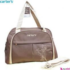 ساک لوازم نوزاد 2 تکه برزنتی قهوه ای گل کارترز Carter's baby diaper bag