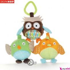 آویز کریر و آویز کالسکه جغجغه ای 3 عددی جغد اسکیپ هاپ Skip Hop owl and friends