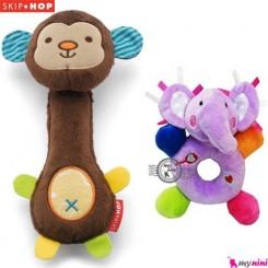 عروسک های جغجغه ای 2 عددی میمون نوزاد و کودک اسکیپ هاپ Skip Hop Rattle