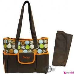 ساک لوازم نوزاد دو تکه برزنتی نارنجی میمون سیسمونی baby diaper bag