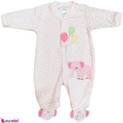 سرهمی مخمل صورتی فیل و بادکنک نوزاد و کودک بالِدی Baledi Baby sleepsuit