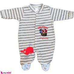 سرهمی مخمل راه راه نهنگ نوزاد و کودک بالِدی Baledi Baby sleepsuit