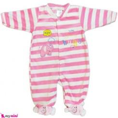 سرهمی مخمل راه راه صورتی فیل نوزاد و کودک بالِدی Baledi Baby sleepsuit