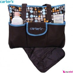 ساک لوازم برزنتی 2 تکه نوزاد قهوه ای آبی کارترز Carter's