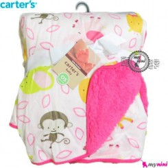 پتو کارترز صورتی میمون و فیل Carter's baby blanket