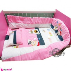 محافظ دور تخت بچه تترون صورتی خرس باهوش Protective beds for children
