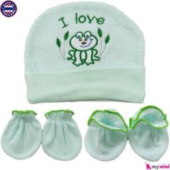 ست کلاه پاپوش دستکش نوزاد مخمل پنبه ای تایلندی Newborn set