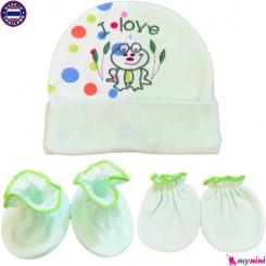 کلاه دستکش پاپوش نوزادی سبز قورباغه تایلندی Newborn Set