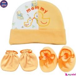 ست کلاه دستکش پاپوش نوزادی جوجه نارنجی تایلندی Newborn Set