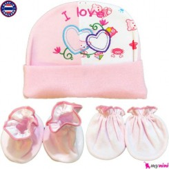 ست کلاه و دستکش و پاپوش نوزاد صورتی قلب تایلندی Newborn Set