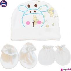 ست کلاه دستکش پاپوش نوزاد سفید زرافه تایلندی Newborn Set