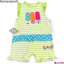 سرهمی شورتی بچه 12 تا 18 ماه سبز بستنی باستر براون Buster Brown baby rompers