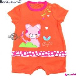 سرهمی شورتی بچه 6 تا 9 ماه نارنجی گربه باستر براون Buster Brown baby rompers